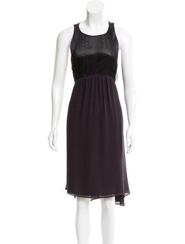 Vanessa Bruno Lace Panel Silk Dress None