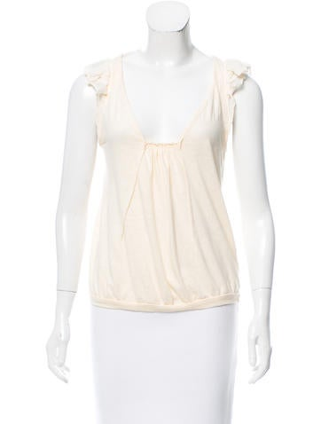 Vanessa Bruno Sleeveless Ruffle-Accented Top None