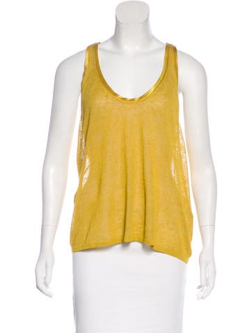 Vanessa Bruno Silk-Trimmed Linen Top None