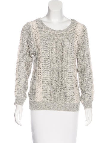 Vanessa Bruno Lace-Trimmed Open Knit Sweater None