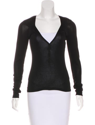 Vanessa Bruno V-Neck Long Sleeve Top None