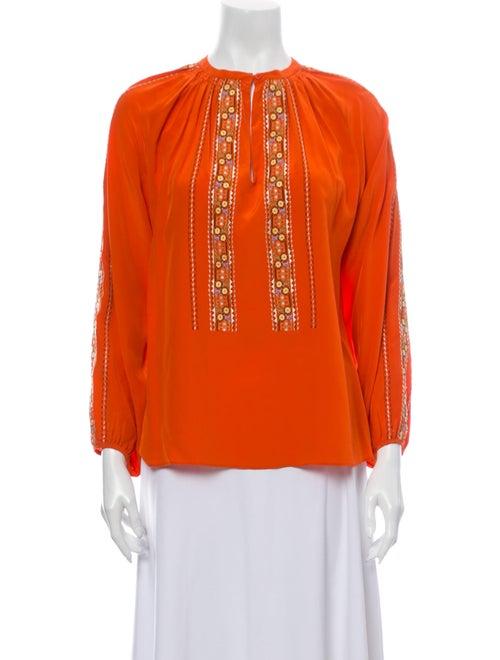 Vanessa Bruno Silk Crew Neck Blouse Orange