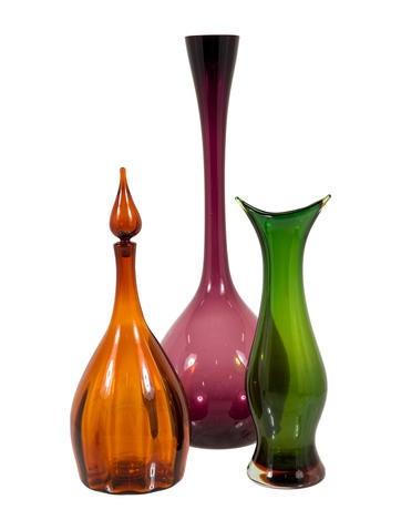 Set of Three Art Glass Vases None