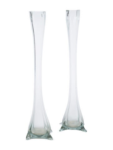 Pair of Oversize Glass Vases None