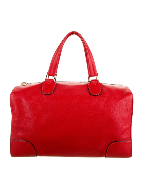 Valextra Textured Leather Tote Red
