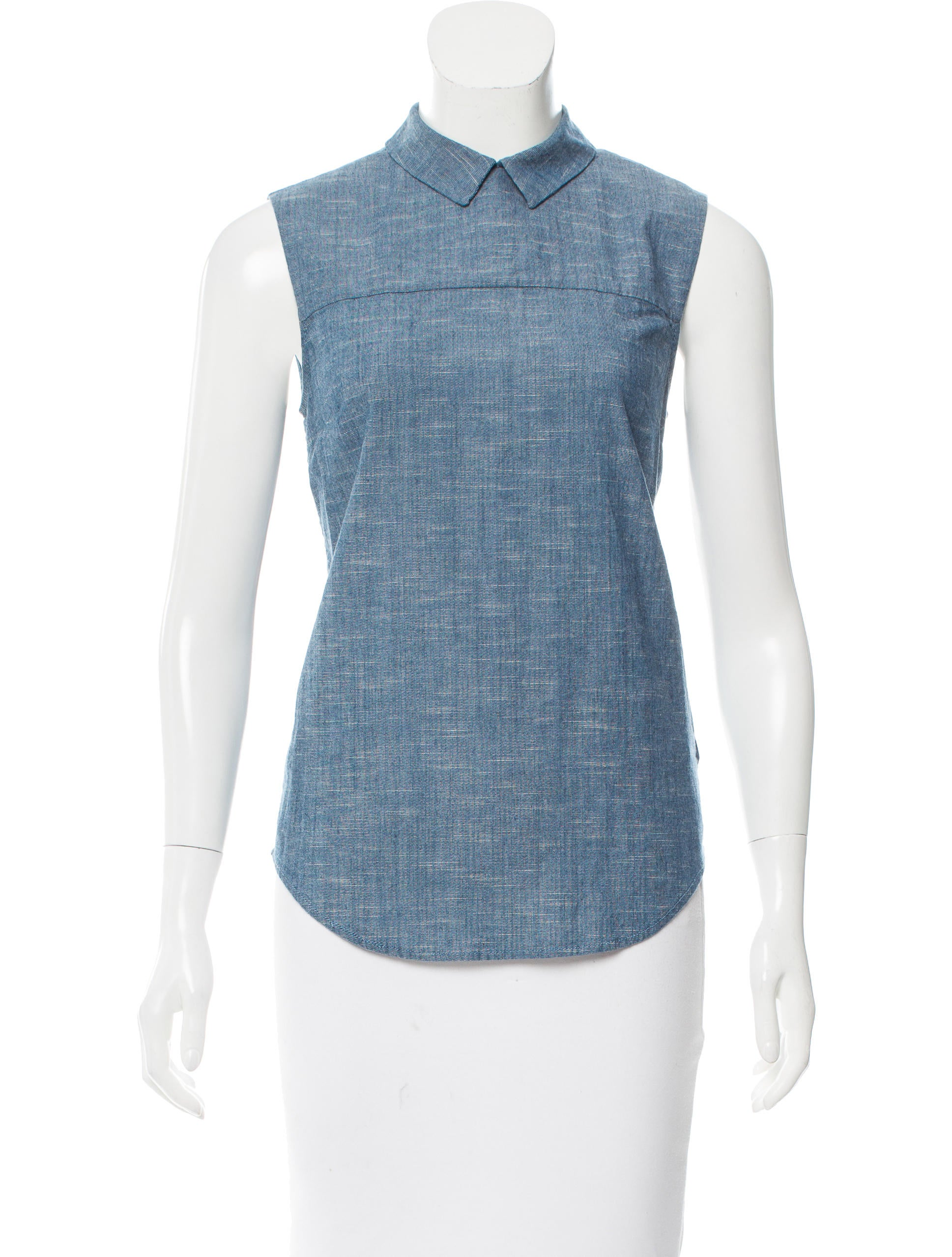 Victoria beckham sleeveless chambray top clothing for Chambray top