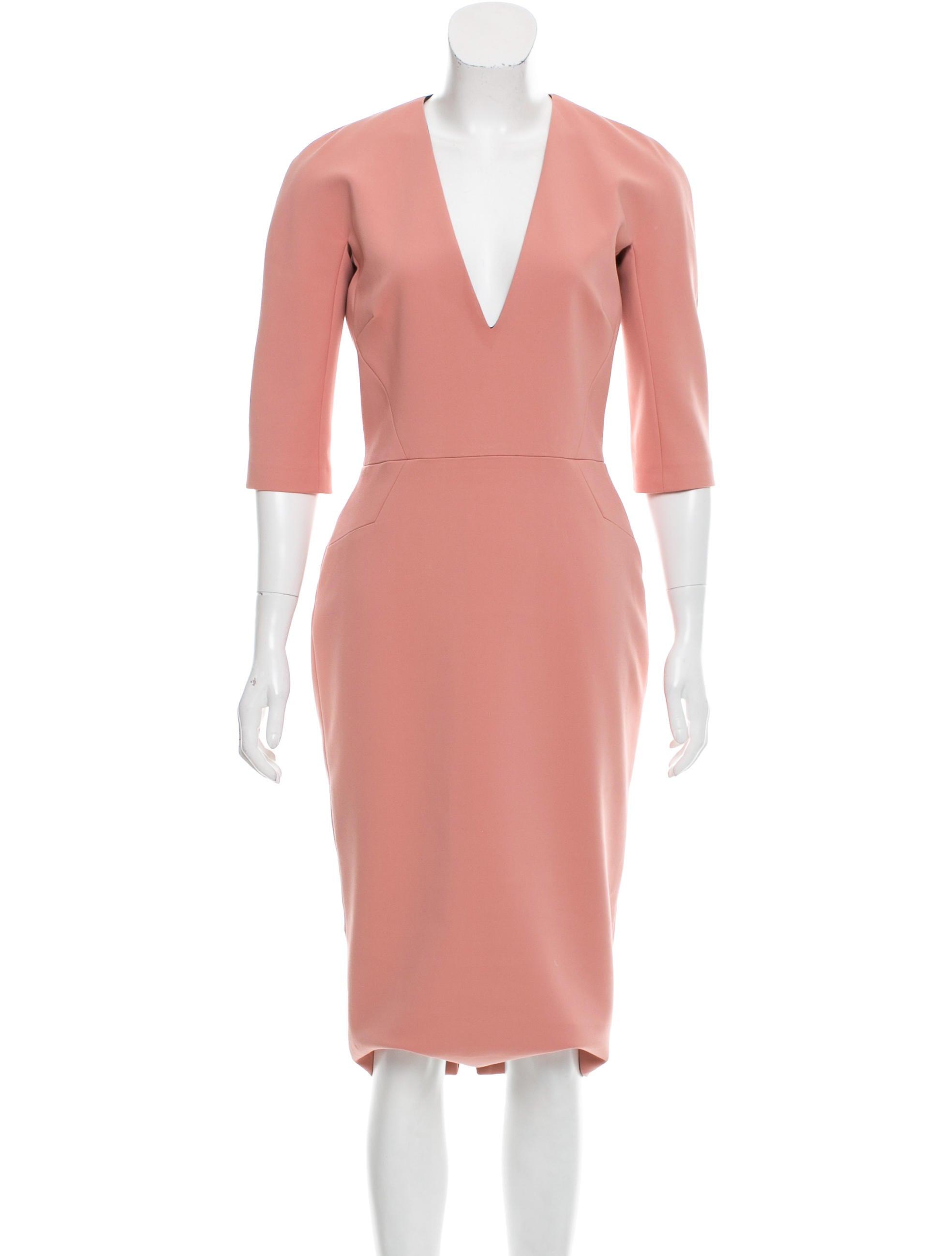 Victoria Beckham V Neck Midi Dress Clothing Vbk22409