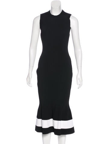 Victoria Beckham Rib Knit Midi Dress None