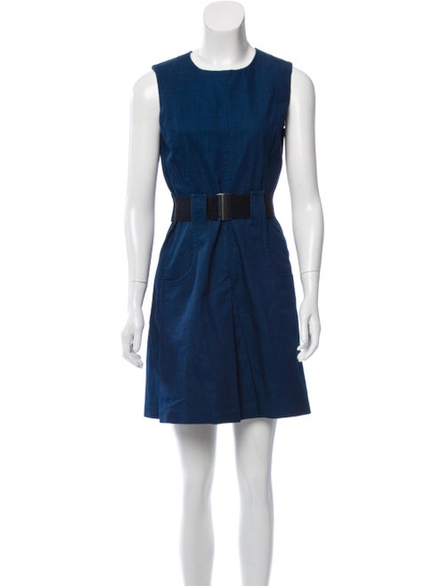 Victoria Beckham Chambray Belted Dress blue