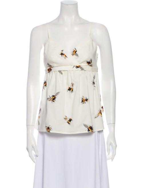 Victoria Beckham Printed Strapless Blouse White