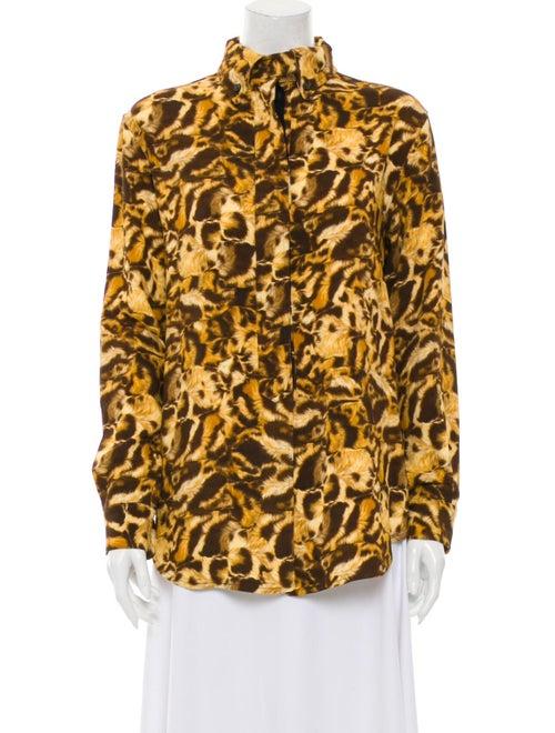 Victoria Beckham Animal Print Long Sleeve Blouse