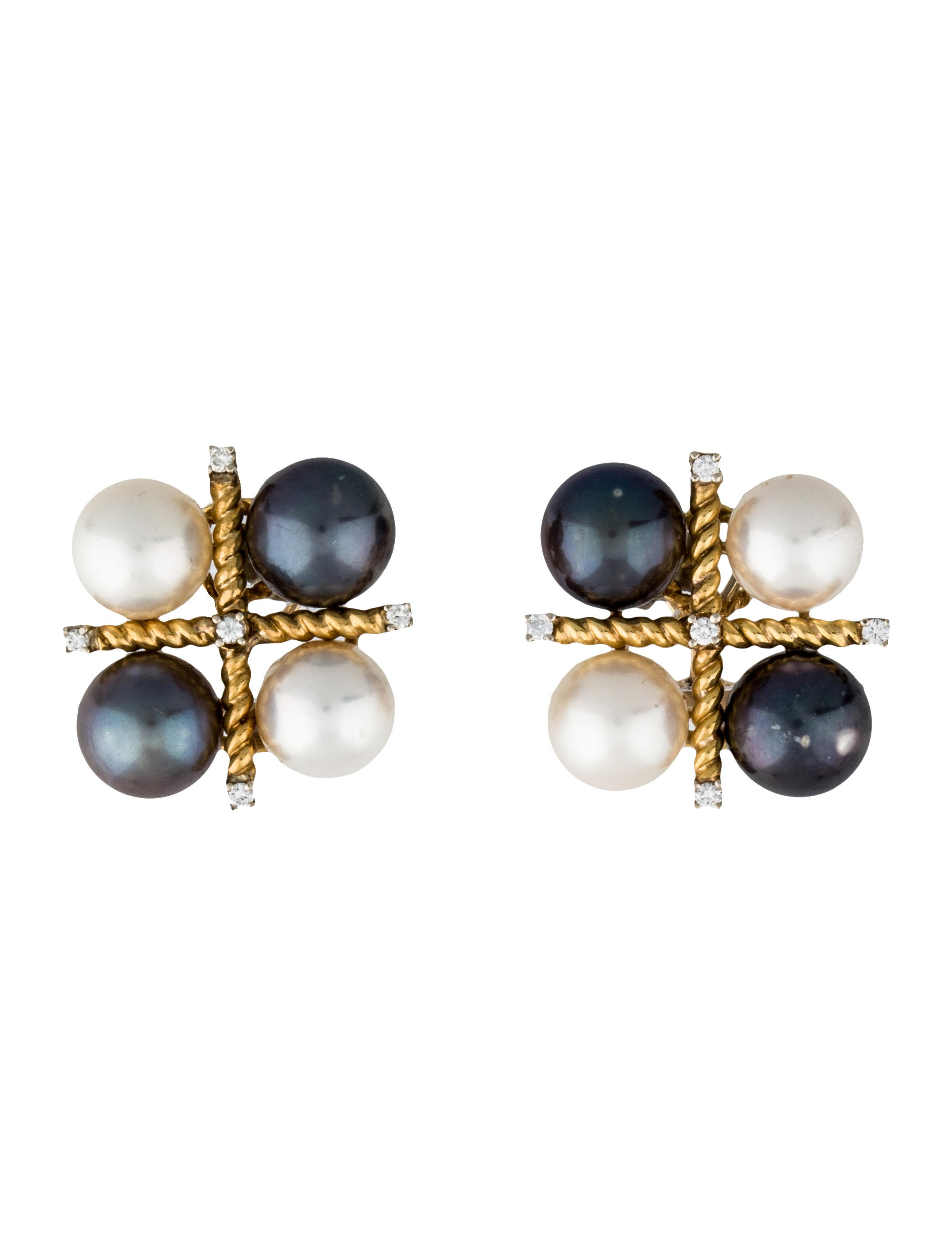 verdura pearl cluster and diamond clip on earrings. Black Bedroom Furniture Sets. Home Design Ideas