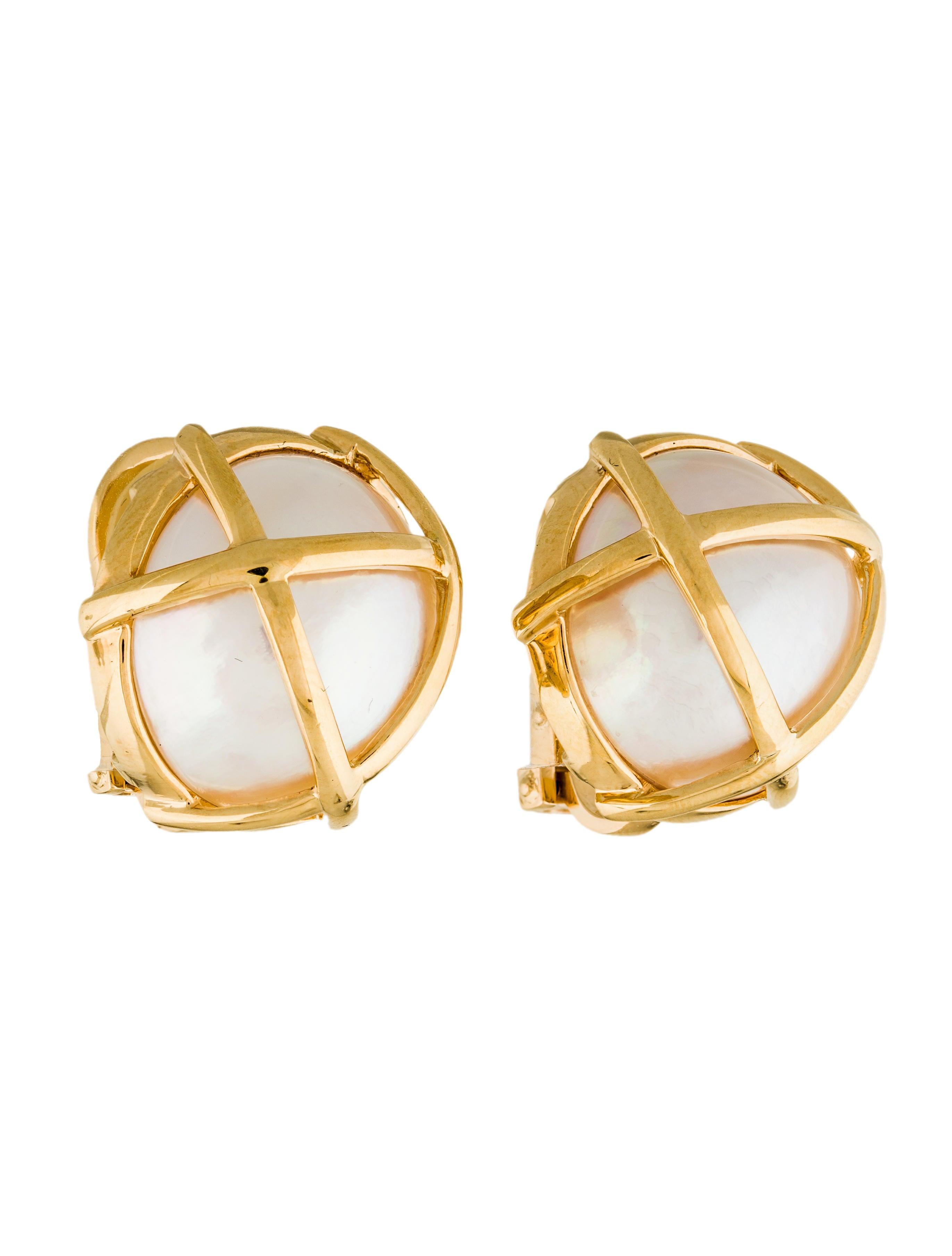 verdura 18k mab pearl caged clip on earrings earrings. Black Bedroom Furniture Sets. Home Design Ideas