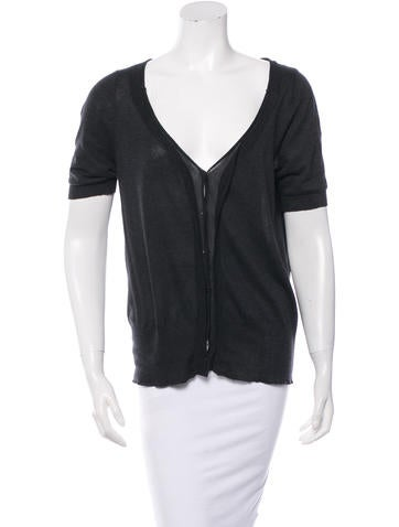 Vera Wang Short Sleeve Button-Up Top None
