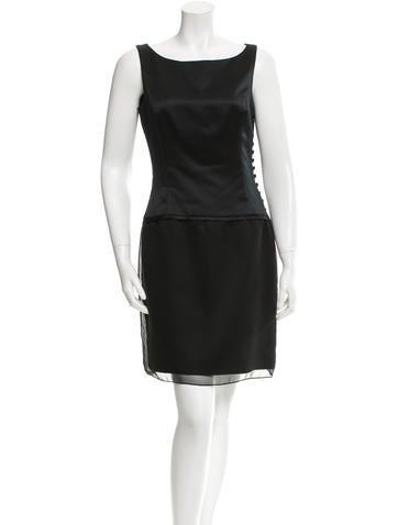 Vera Wang Satin Sheath Dress None