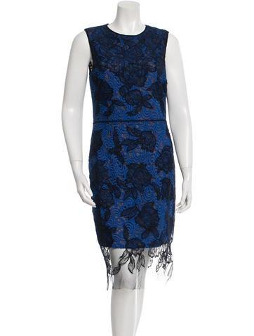 Vera Wang Sleeveless Lace Dress None