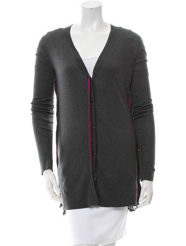 Vera Wang Silk-Accented V-Neck Cardigan w/ Tags None