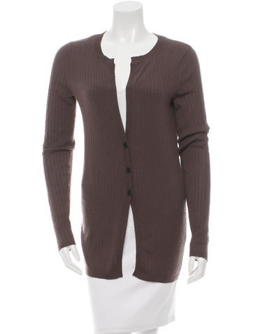 Vera Wang Cashmere Rib Knit Cardigan None