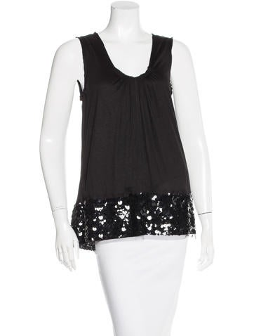 Vera Wang Sequin-Trimmed Sleeveless Top None