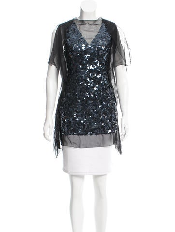 Vera Wang Silk Sequined Top None