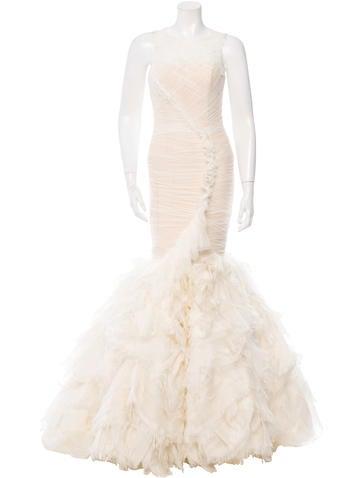 Vera Wang Silk Raw-Edge Gown None