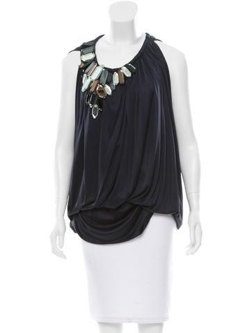 Vera Wang Silk Embellished Top None