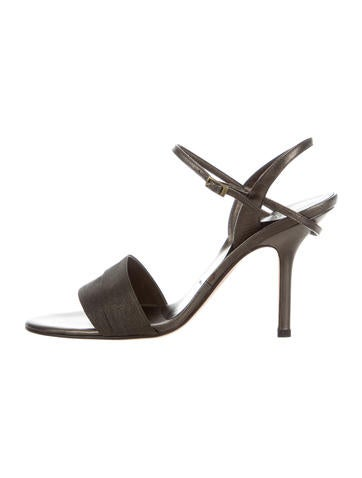 Vera Wang Canvas Ankle Strap Sandals