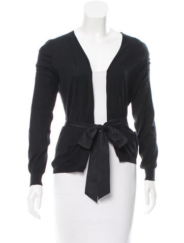 Vera Wang Rib Knit Belted Cardigan None