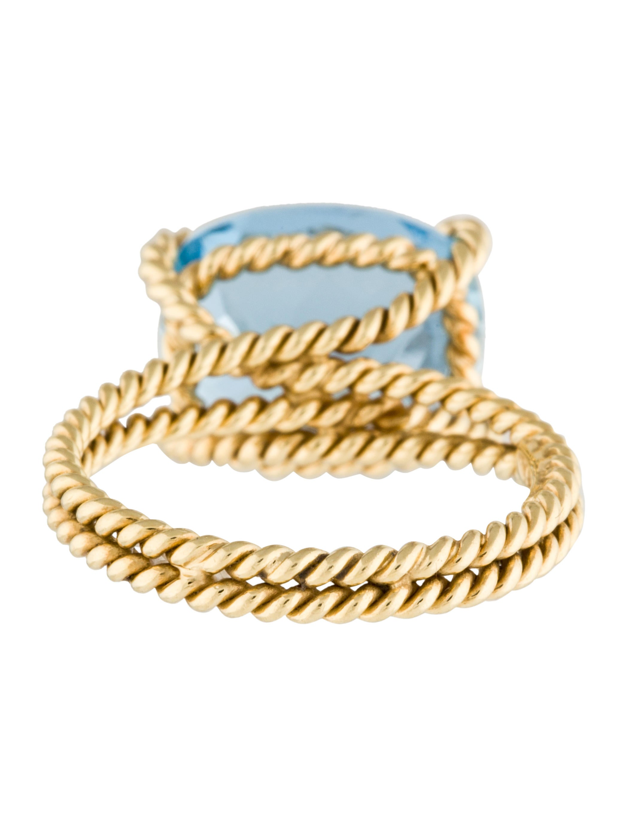 vera wang 18k aquamarine twisted cable cocktail ring