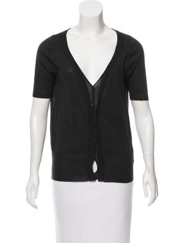 Vera Wang Short Sleeve V-Neck Cardigan None
