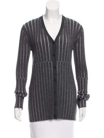 Vera Wang Rib Knit Wool Cardigan None