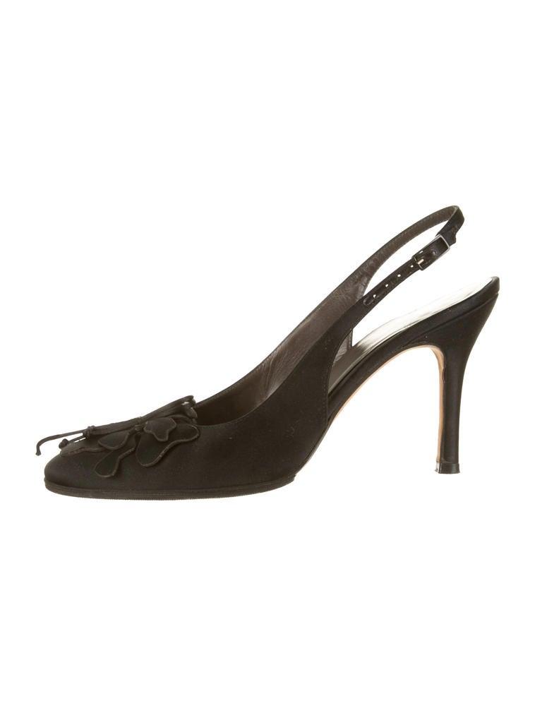 Black Satin Slingback Shoes