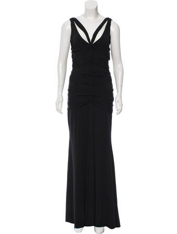 Vera Wang Ruched Evening Dress None