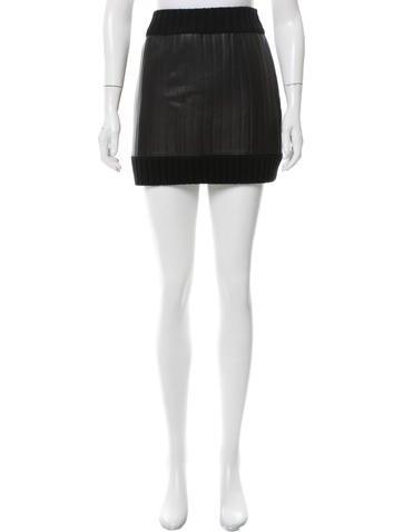 Vera Wang Leather-Paneled Wool Skirt w/ Tags None