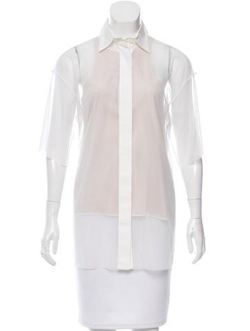 Vera Wang Sheer Button-Up Top w/ Tags None