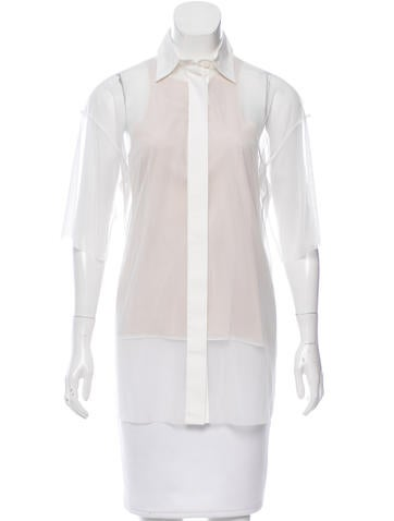 Vera Wang Sheer Button-Up Top w/ Tags None