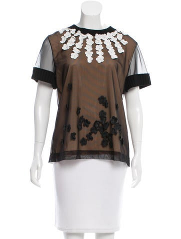 Vera Wang Floral Appliqué Short Sleeve Top w/ Tags None