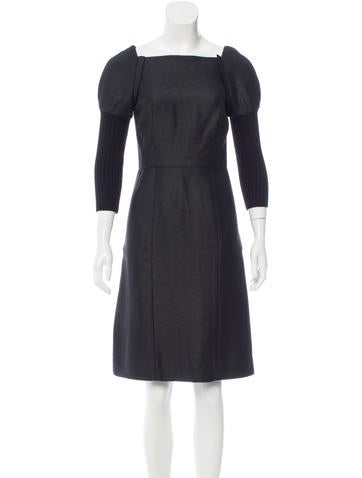 Vera Wang Wool-Accented Knee-Length Dress None