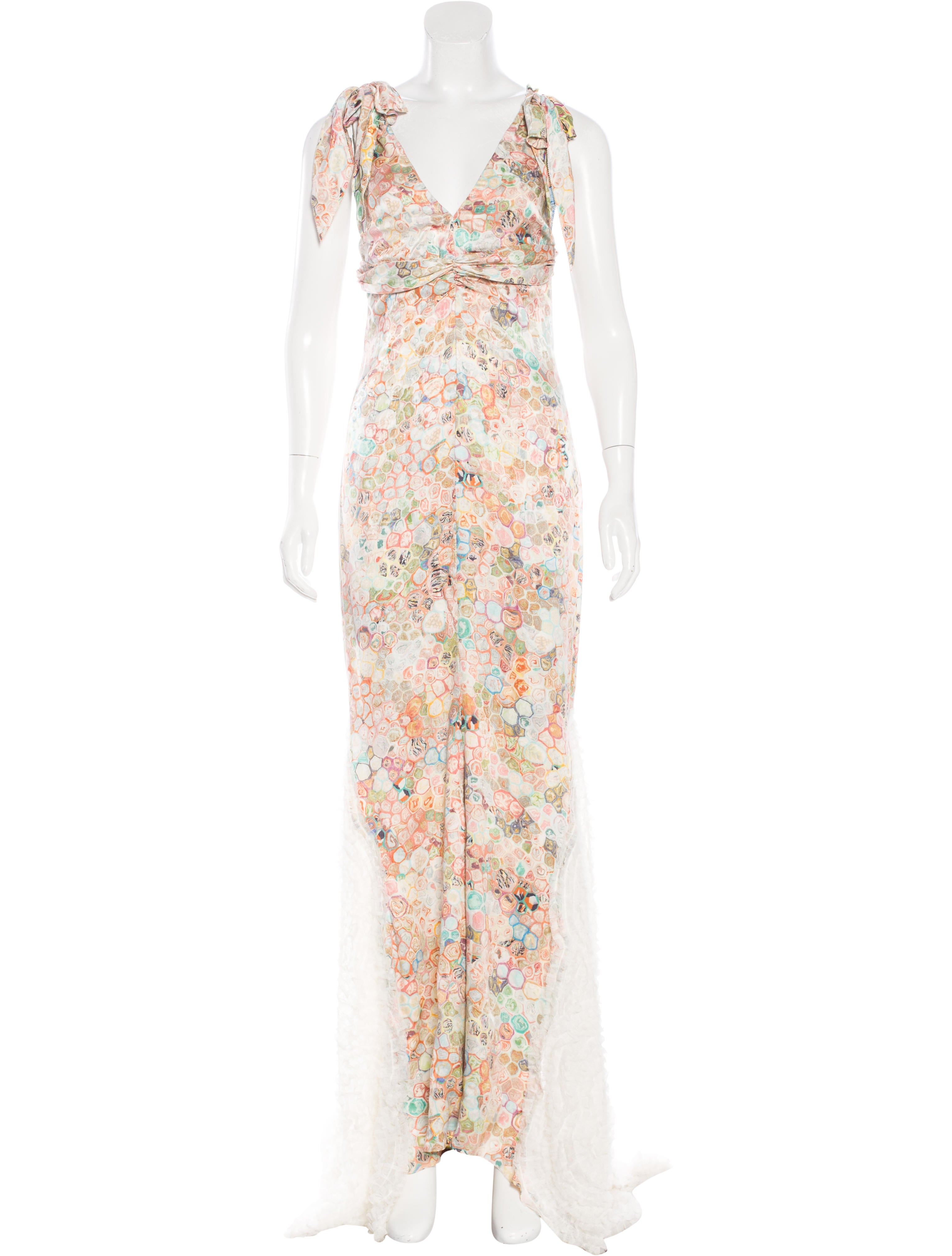 Vera Wang Floral Print Evening Gown - Clothing - VER26283 | The RealReal