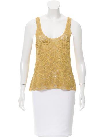 Vera Wang Crocheted Sleeveless Top None