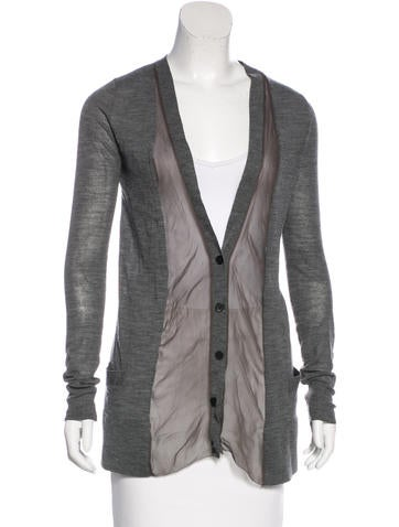 Vera Wang Silk-Trimmed Wool Cardigan None