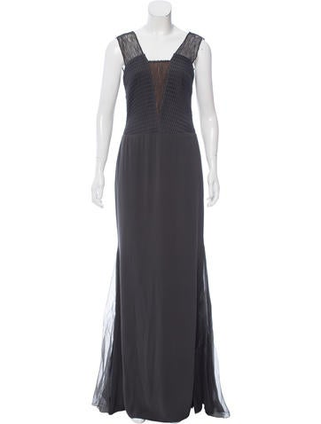 Vera Wang Mesh and Guipure Lace-Accented Gown w/ Tags None