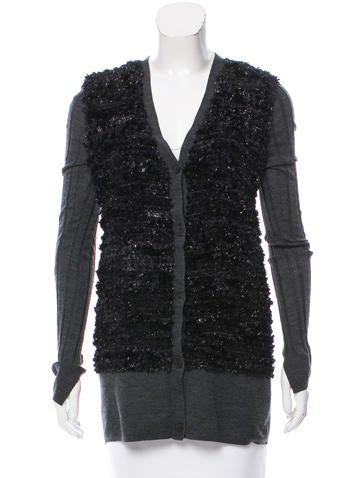 Vera Wang Textured Wool Cardigan None