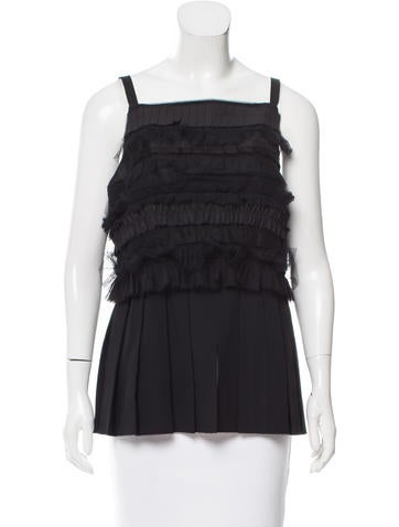 Vera Wang Pleated Wool Top None