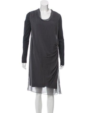 Vera Wang Long Sleeve Midi Dress None