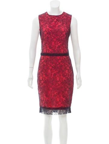 Vera Wang Lace Knee-Length Dress None