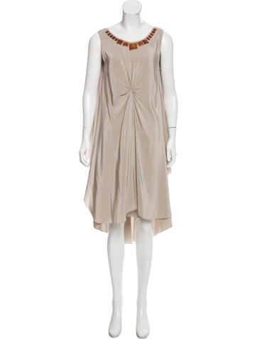 Vera Wang Embellished Silk Dress None
