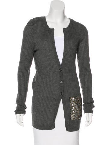 Vera Wang Embellished Cashmere Cardigan None