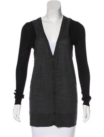 Vera Wang Wool Button-Up Cardigan None