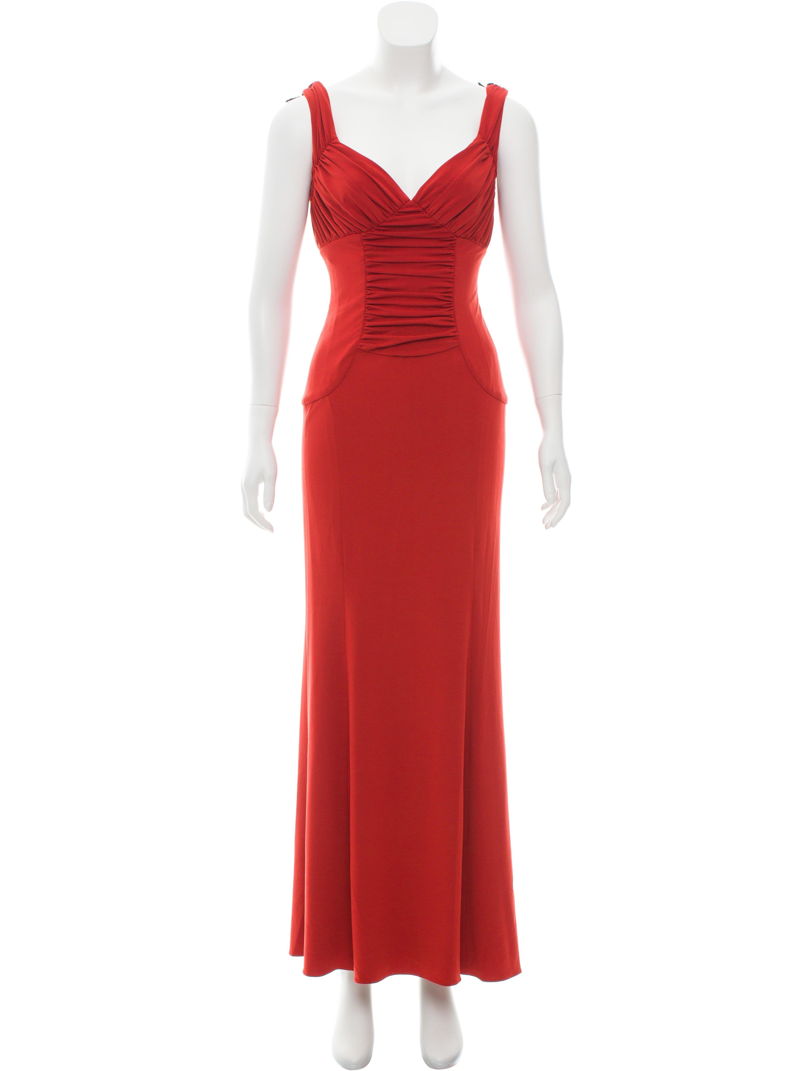 Vera Wang Ruched Evening Dress - Clothing - VER27629 | The RealReal